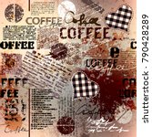 coffee. abstract coffee pattern ... | Shutterstock .eps vector #790428289