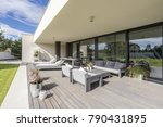 grey garden furniture on board... | Shutterstock . vector #790431895