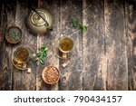 chinese flavored tea. on a... | Shutterstock . vector #790434157