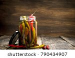pickled hot chili peppers in... | Shutterstock . vector #790434907
