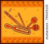vector design of manjira and... | Shutterstock .eps vector #790435135