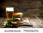 fast food. a big burger with... | Shutterstock . vector #790436251