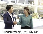 male and female business shake... | Shutterstock . vector #790437184