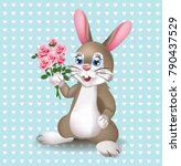 cute rabbit with tulips flowers ... | Shutterstock .eps vector #790437529