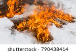 fiery flame on the white snow... | Shutterstock . vector #790438414