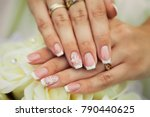 french manicure with white... | Shutterstock . vector #790440625