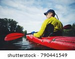 kayak water sports banner with... | Shutterstock . vector #790441549