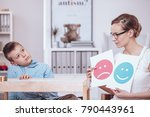 counselor with posters of red... | Shutterstock . vector #790443961