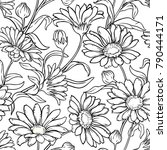 calendula seamless pattern | Shutterstock .eps vector #790444171