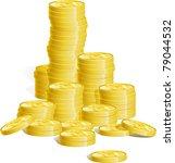 money. many stacks of gold... | Shutterstock .eps vector #79044532