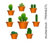set of cactuses  hand drawn... | Shutterstock .eps vector #790446271