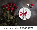 valentines day table setting... | Shutterstock . vector #790455979