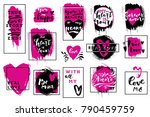 hand drawn set of love quotes... | Shutterstock .eps vector #790459759