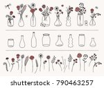 Set Of Hand Drawn Flowers And...
