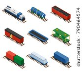 trains isometric set of freight ... | Shutterstock .eps vector #790464574
