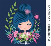cute girl with flowers.girl... | Shutterstock .eps vector #790467709