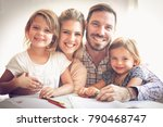 cheerful family looking at... | Shutterstock . vector #790468747