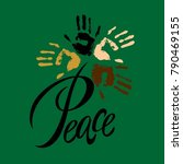 peace.lettering. peace on earth.... | Shutterstock .eps vector #790469155