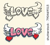 love with wings and hearts.... | Shutterstock .eps vector #790469515