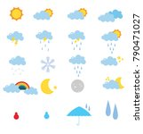 set of weather with white... | Shutterstock . vector #790471027