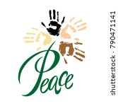 peace.lettering. peace on earth.... | Shutterstock .eps vector #790471141