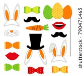 cute easter photo booth props... | Shutterstock . vector #790471465