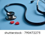 two red hearts with stethoscope ... | Shutterstock . vector #790472275