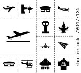 aircraft icons. set of 13... | Shutterstock .eps vector #790477135