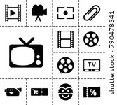 movie icons. set of 13 editable ... | Shutterstock .eps vector #790478341