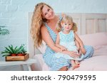 beautiful family mom and... | Shutterstock . vector #790479595
