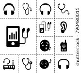 listen icons. set of 13... | Shutterstock .eps vector #790480015