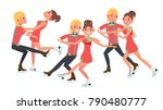 pair figure skating couple boy... | Shutterstock . vector #790480777