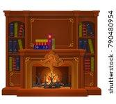vintage books lie on the mantel ...   Shutterstock .eps vector #790480954