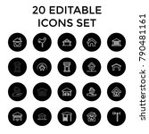 roof icons. set of 20 editable... | Shutterstock .eps vector #790481161