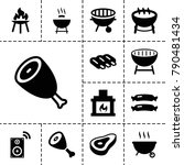 grill icons. set of 13 editable ... | Shutterstock .eps vector #790481434
