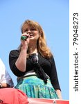 Small photo of WARSAW, POLAND - JUNE 11: Katarzyna Piekarska, Polish left-wing politician, member of the Democratic Left (SLD) during Pride Parade 2011 to support gay rights, on June 11, 2011 in Warsaw, Poland.