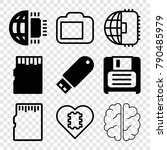 set of 9 memory filled and... | Shutterstock .eps vector #790485979