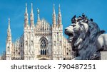 sculpture of a lion on piazza... | Shutterstock . vector #790487251