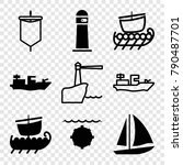 set of 9 sailing filled and... | Shutterstock .eps vector #790487701