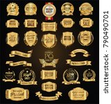 retro vintage golden badges... | Shutterstock .eps vector #790490701