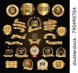 retro vintage golden badges...   Shutterstock .eps vector #790490704
