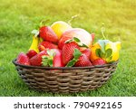 fresh fruits in the basket.... | Shutterstock . vector #790492165