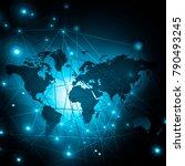 world map on a technological... | Shutterstock . vector #790493245