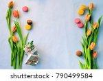 bouquet of tulips on a light... | Shutterstock . vector #790499584