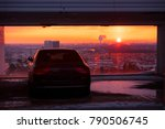 Small photo of Modern luxury car and sunset sky in background. Successful, business people. Motivation photo. Luxury, rich, happy life.