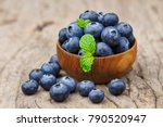 blueberries in a bowl on a... | Shutterstock . vector #790520947