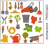 gardening objects set composed... | Shutterstock .eps vector #790521601