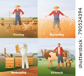 agriculture flat compositions... | Shutterstock .eps vector #790524394