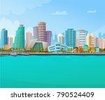 Miami Skyline Retro Poster Wit...