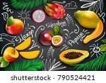 colored tropical fruits... | Shutterstock .eps vector #790524421